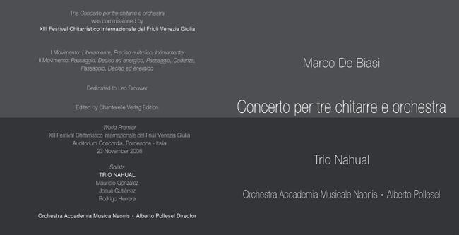 CONCERTO PER TRE CHITARRE E ORCHESTRA - MARCO DE BIASI BOOKLET