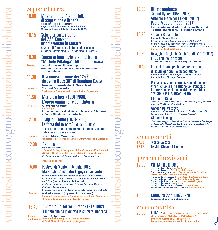 programma Convegno Internazionale di chitarra - Marco De Biasi